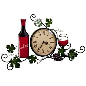 Metal Wine Wall Clock